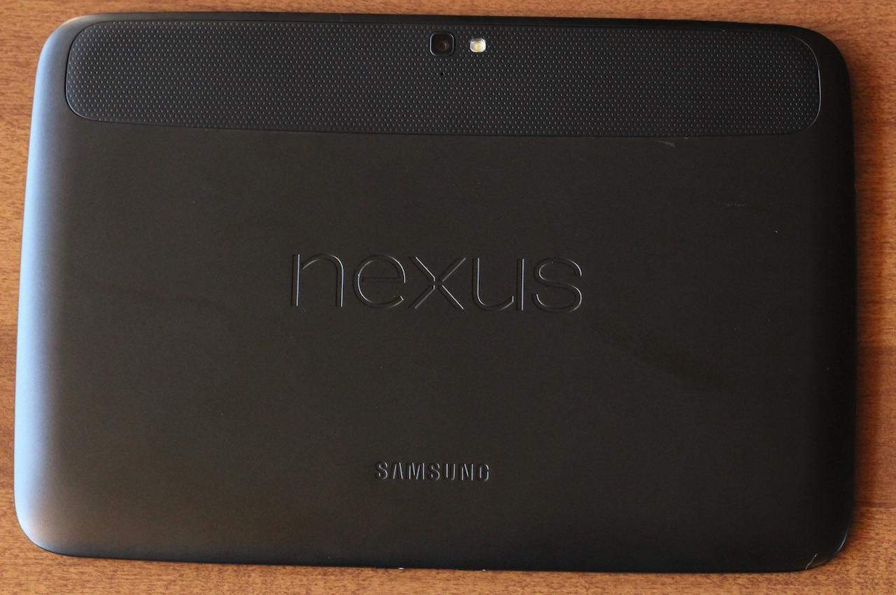 The sort-of-rubbery back of the Nexus 10 is fine, but we prefer the Nexus 7.