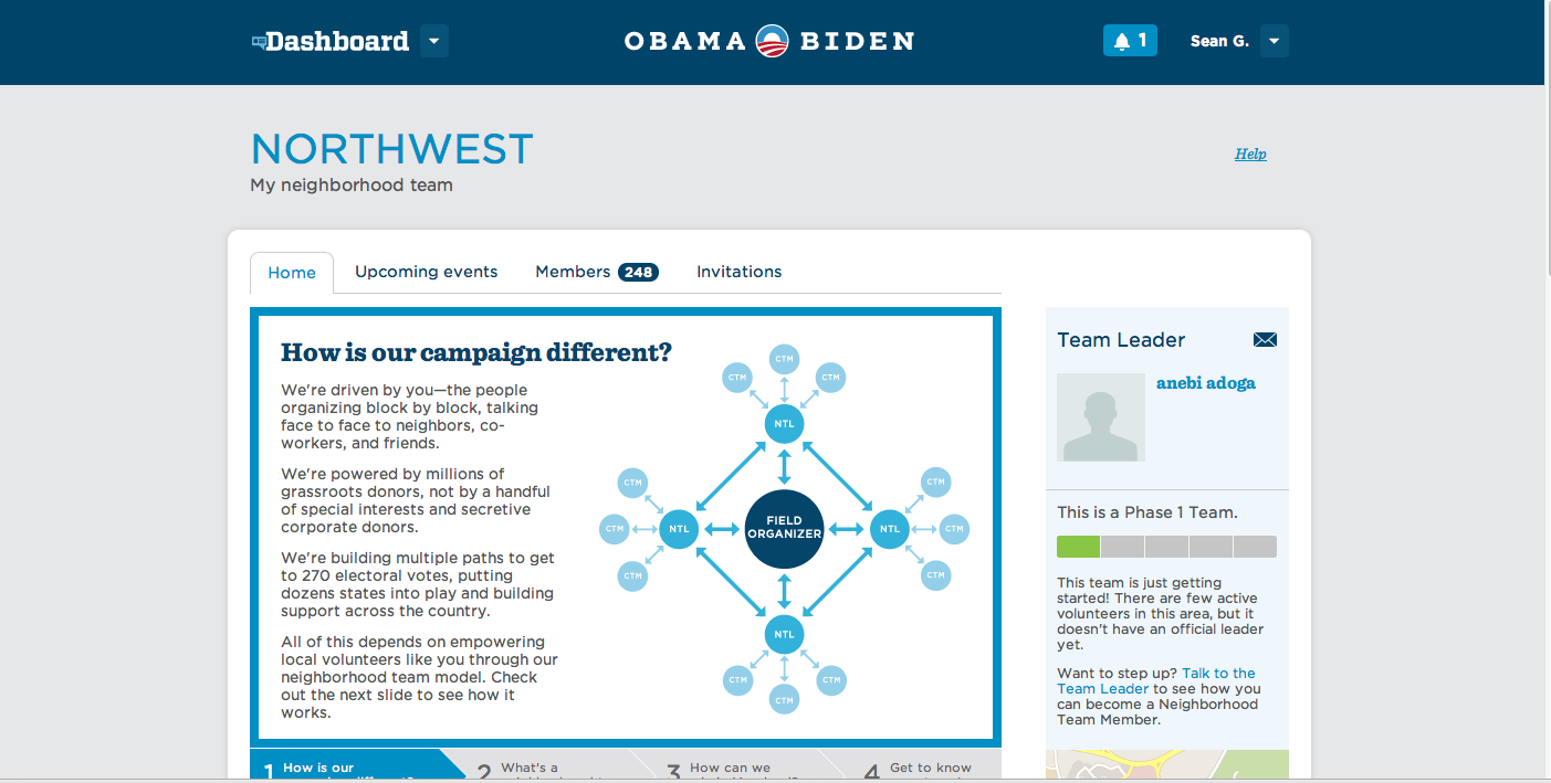 The Dashboard Web application, still live, helped automate the recruitment and outreach to would-be Obama campaign volunteers.