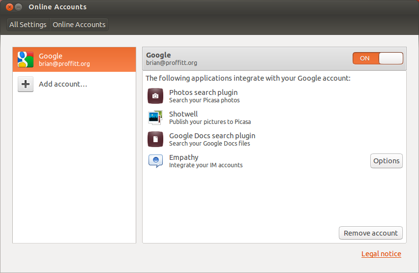 Online Accounts enables smoother integration between Web services and some Ubuntu clients.