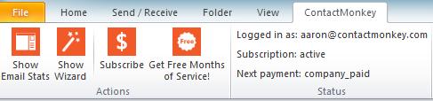 The Outlook plug-in toolbar for ContactMonkey's Bridge.