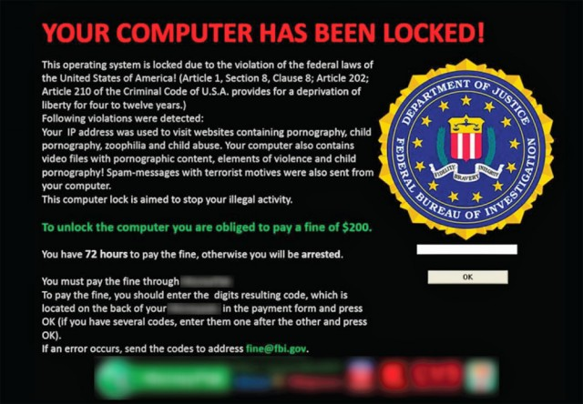 FBI Ransomware - Your Computer Has Been Locked