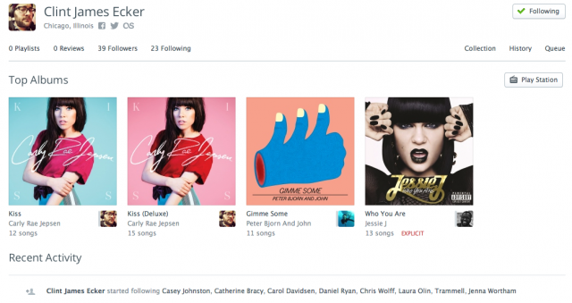 A user profile page in the desktop app in Rdio.