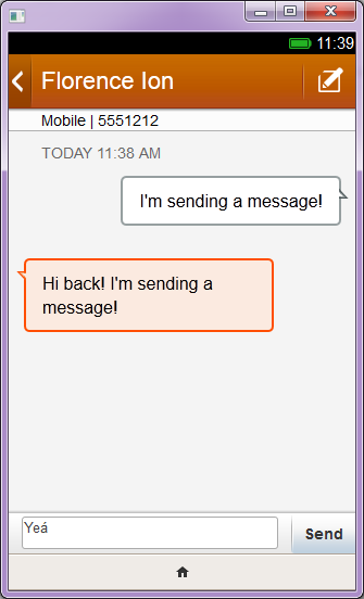The prototype simulator for Firefox OS lets users send fake text messages back and forth.