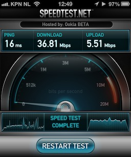 iPhone 5 Speedtest results at 2.4GHz