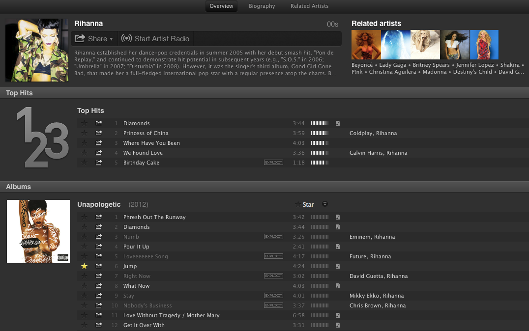 An artist page in Spotify with top tracks prominently displayed lets you get to the currently popular stuff easily.