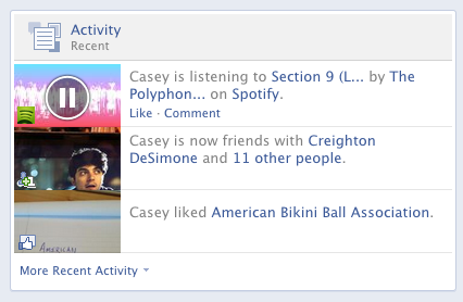 If you let tracks sync to Facebook from either Spotify or Rdio, they both display like this.