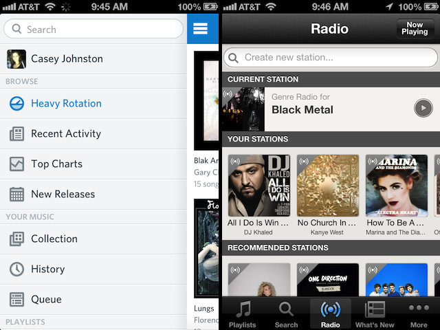 Left, Rdio's menu; right, Spotify's dedicated radio interface, likely meant to appeal to streaming Internet radio converts.