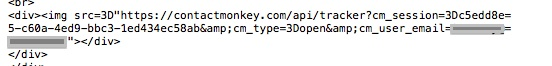 The HTML code that embeds the tracking graphic in Bridge-bugged email messages (address of sender obscured).