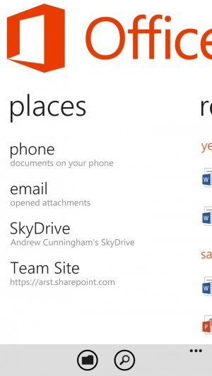 Windows Phone remains the only platform with its own native Office app.