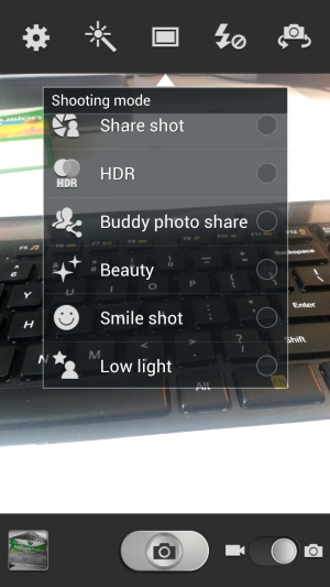 Select between a few new shooting options, like Smile shot or Low light.