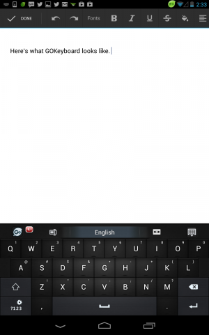 The default GO Keyboard skin is tame, but themes can get a lot crazier than this.
