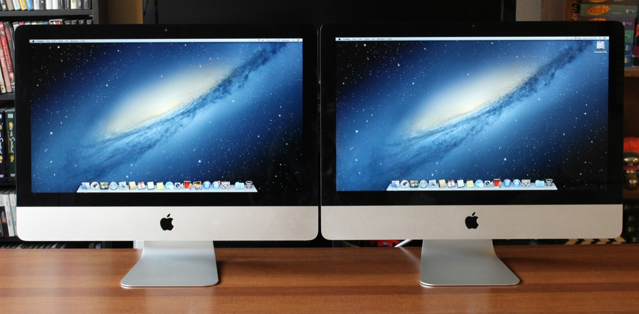 From the front, the 2012 iMac (left) looks very similar to the 2011 model (right).
