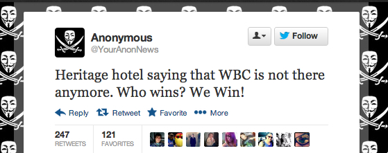 Whatever Anon actually did, it appears they can claim victory over the WBC today.