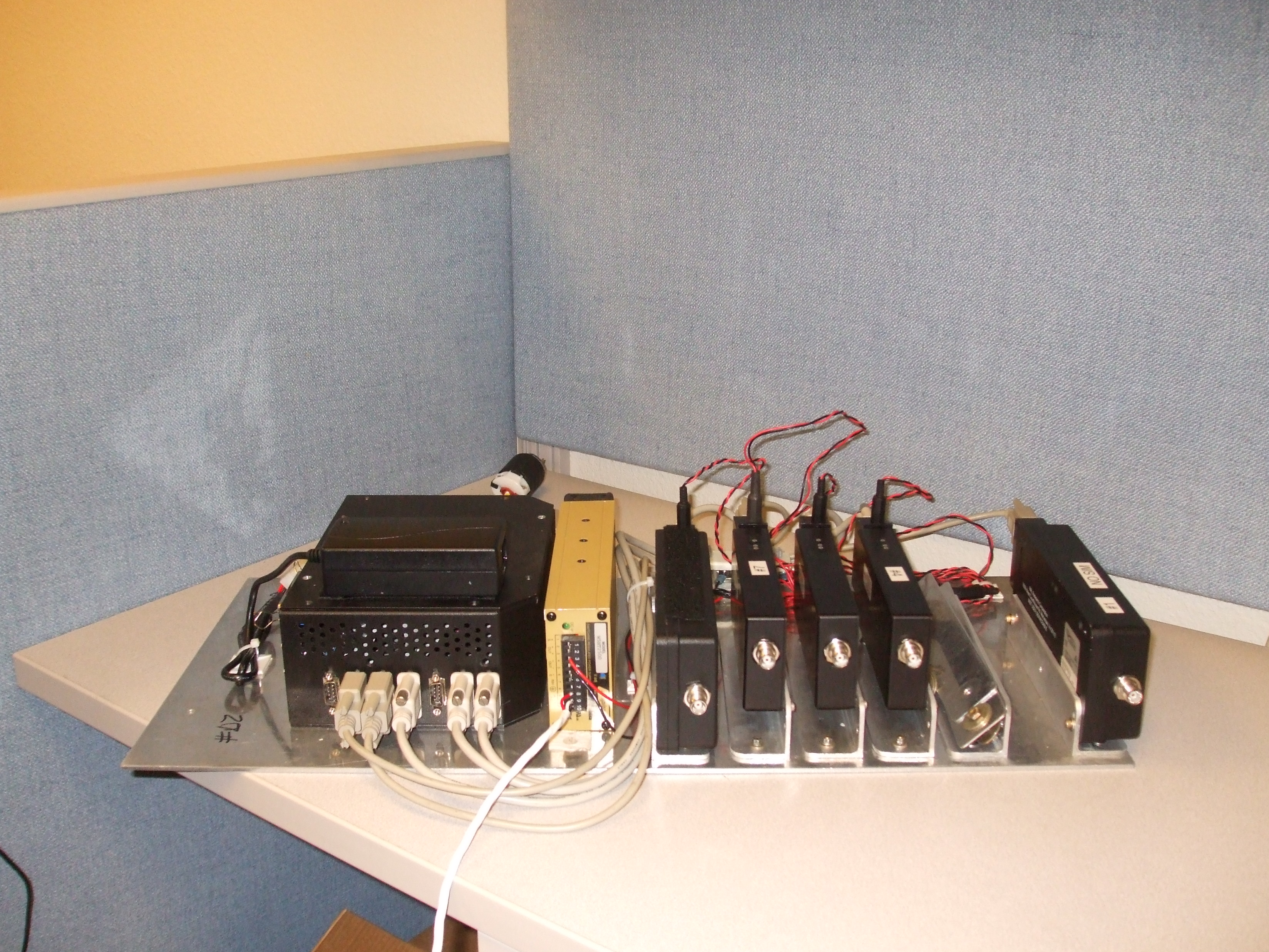 Operation IceBridge's array of Iridium modems, sitting on the desk of NSERC network engineer David Van Gilst.