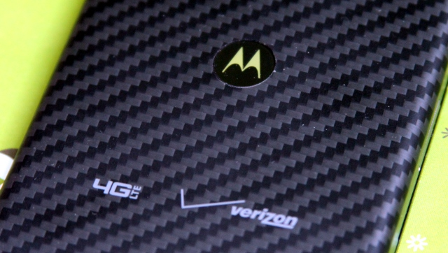 A closer look at the Razr Maxx HD's Kevlar-coated backside.
