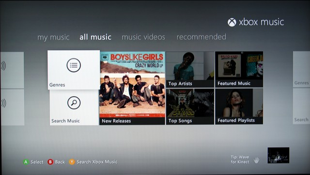 Xbox Music start page immediately defaults to the user's music.