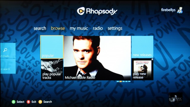 The Rhapsody start page features links to newly released music and popular hits.