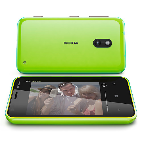 """The lime green phone appears to have a cyan glow to it, presumably as a consequence of the """"Dual Shot"""" coloring."""