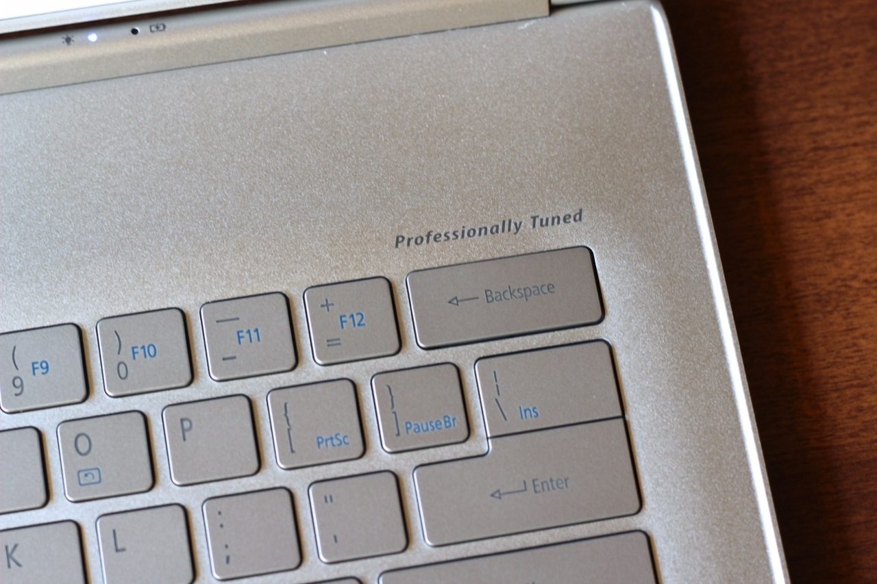 "The aluminum wrist rest tells us that Acer's Ultrabooks are still ""Professionally Tuned."""