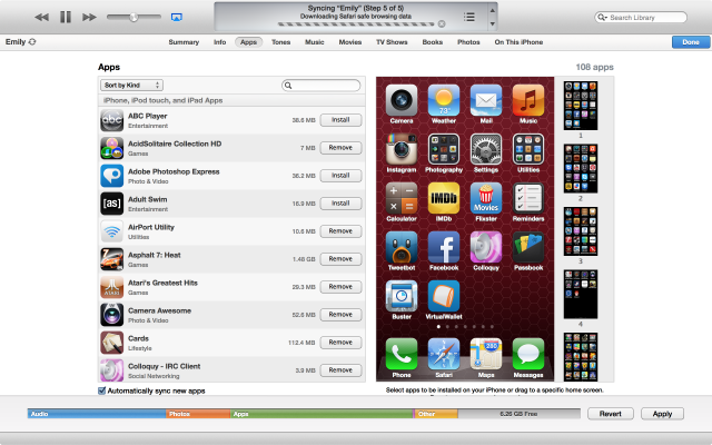Syncing with iOS devices is largely unchanged, though there are a few visual tweaks.