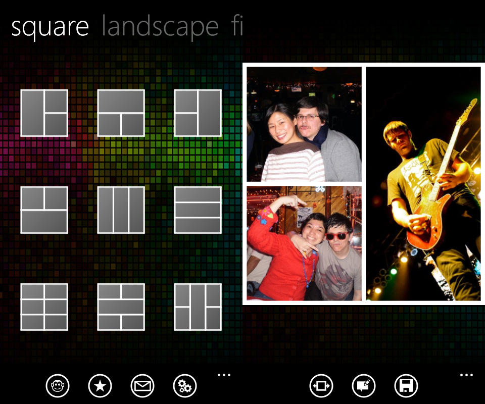 Phototastic (Windows Phone) makes it a snap to build a variety of multi-image collages.