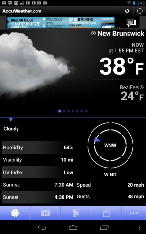 AccuWeather for Android strikes a nice balance between readability and information density.