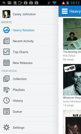 The Android incarnation of Rdio's app...