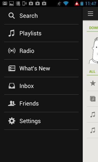 The menu in Android's Spotify app.
