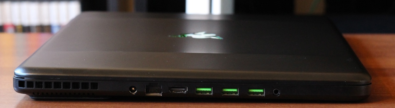 The Blade's ports are all on its left side: Ethernet, HDMI, three USB 3.0 ports, and a headphone jack.