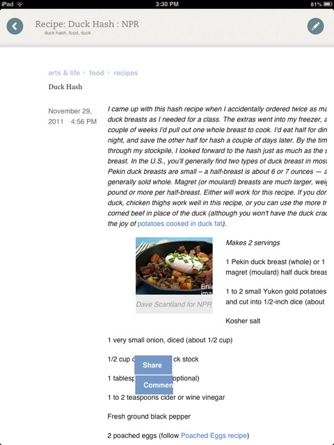 A recipe I clipped from NPR's website on the Web, imported into Evernote Food.