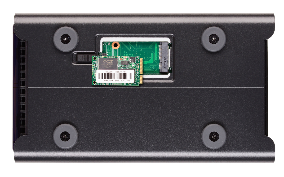 The bottom of the Drobo 5N, showing mSATA SSD bay.
