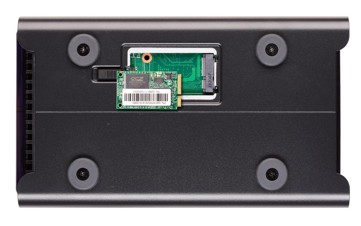 The bottom of the Drobo 5N, showing mSATA SSD bay.