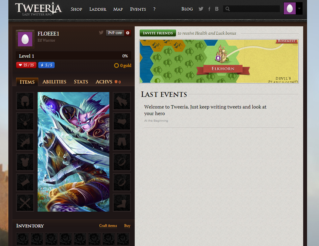 The female elf warrior avatar on Tweeria.