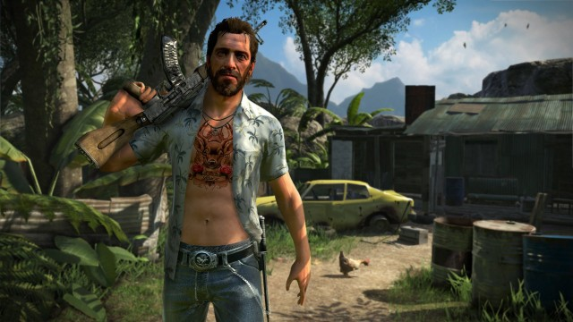 The lunatic Vaas is one of the main bad guys, but you'll actually spend more time with the nonchalantly rapey Buck, pictured here.