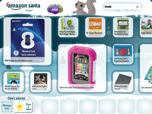 Amazon Santa is very kid oriented. Very. Kid. Oriented.
