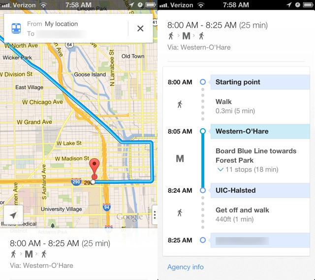 Pull up from the bottom bar on the main map screen to see specific steps on how to get somewhere via transit.