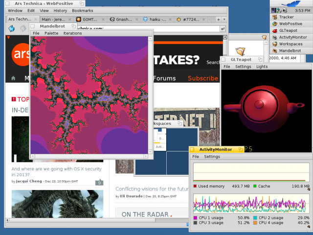 I've got teapots spinning at 385FPS, Mandelbrots mandelbrotting, Ars browsing, and all four CPUs are busy doing stuff.