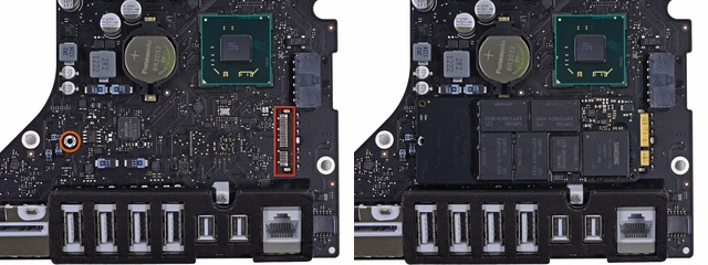 Detail of traces for the proprietary SSD connector (left), with a retina 13-inch MacBook Pro's stick-style SSD placed atop (right). The connector itself is absent in the base 21.5-inch iMac.