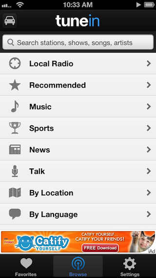 The TuneIn menu on iOS.