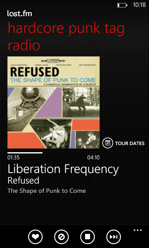 The last.fm app (Windows Phone) will stream songs based on recommendations, artists, genres, or keywords.
