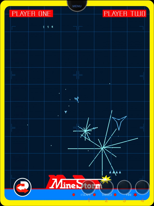Pack-in game <em>Minestorm</em> shows off the Vectrex's unique graphics.
