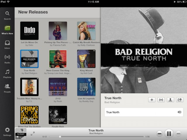 Spotify's iPad interface is slick, and makes discovering new music easy.