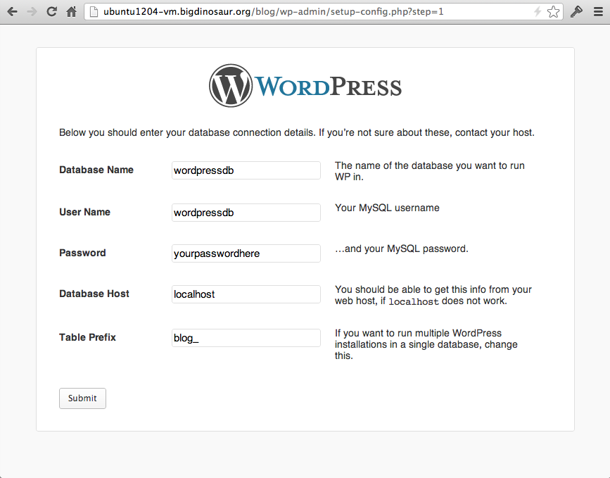 Configuring WordPress to use our SQL user and database. Don't forget to change the database prefix.