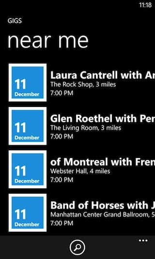 A listing of music shows in the Gigs section of Nokia Music.
