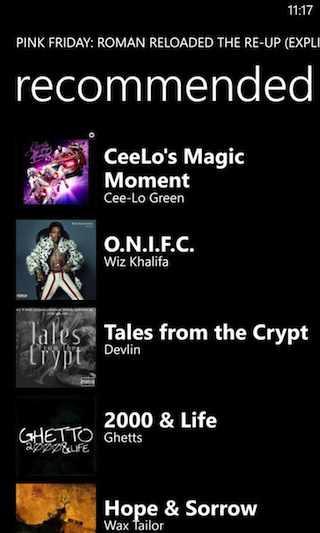 Nokia Music can offer a display of recommended artists based on the one you're currently viewing.