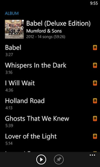 Rdio on Windows Phone, however, conforms to the platform's style cues.