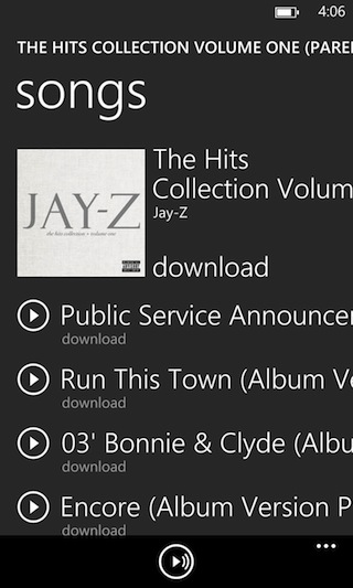 How Windows Phone displays songs within its app.