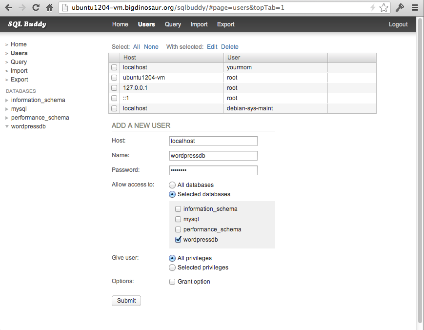 Adding a new user with SQL Buddy. Note the permission assignments.