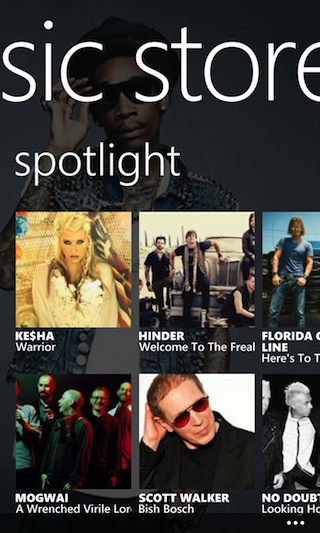 The spotlight highlights popular purchases in the music store.