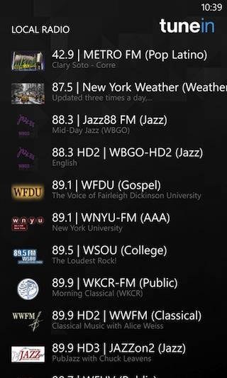 TuneIn's station display on Windows Phone.